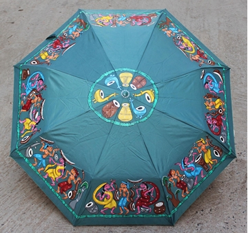 Picture of Deep Green Handdrawn Umbrella