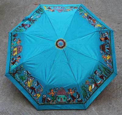 Picture of Peacock Blue Handdrawn Umbrella