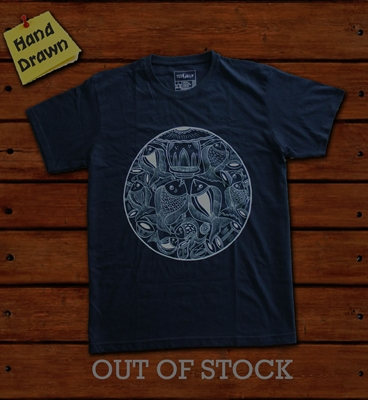 Picture of Navy Blue Madhubani Art T-Shirt